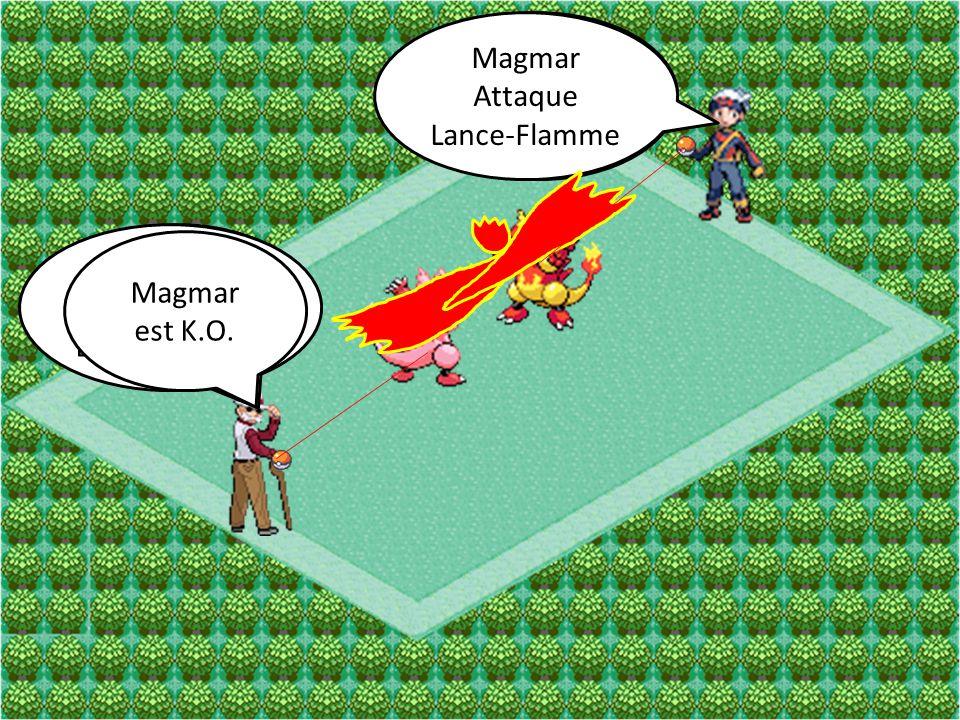 Magmar Attaque Poing de Feu Magmar Attaque Poing de Feu Magmar Attaque Lance-Flamme Magmar Attaque Lance-Flamme Magmar est K.O.
