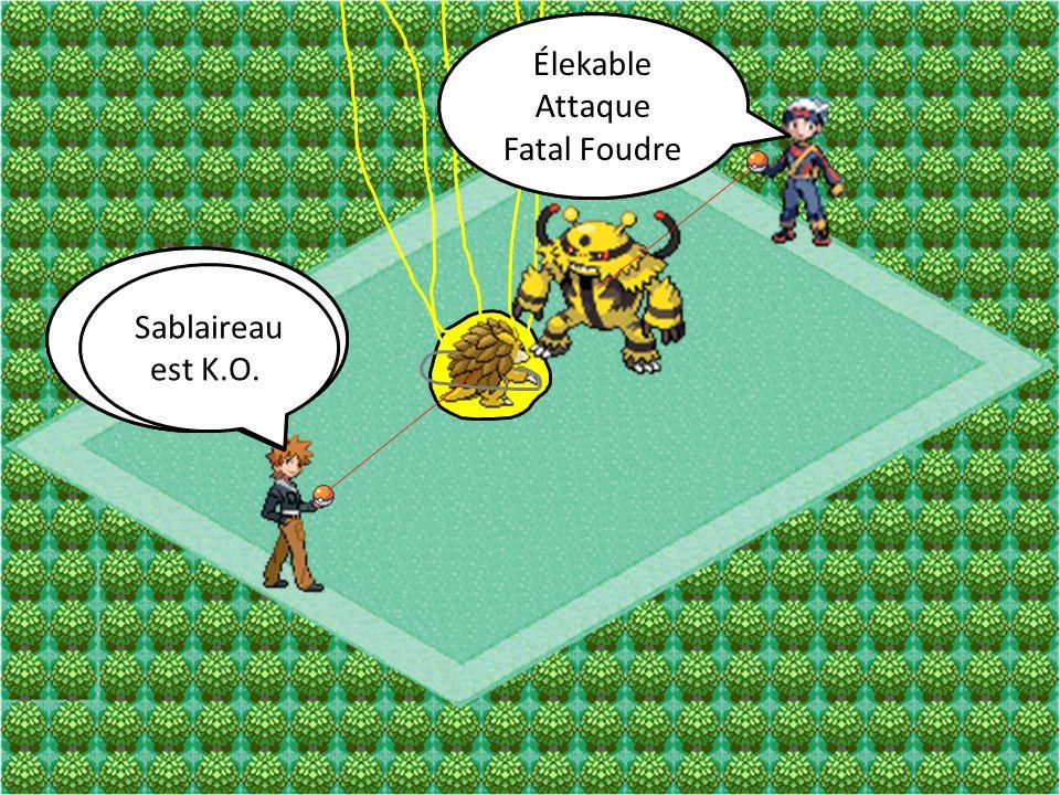 Élekable Attaque Balayage Sablaireau Attaque Tranche Élekable Attaque Fatal Foudre Sablaireau Attaque Gyroballe Sablaireau est K.O.