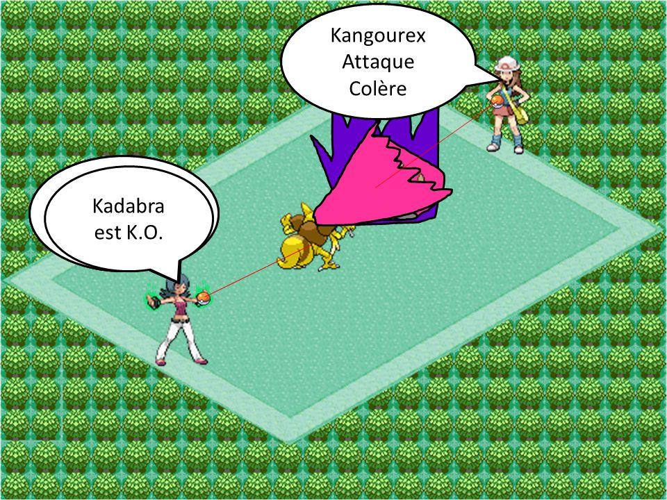 Kadabra Attaque Lévikinésie Kangourex Attaque Coup Double Kadabra Attaque Rafale Psy Kangourex Attaque Colère Kadabra est K.O.
