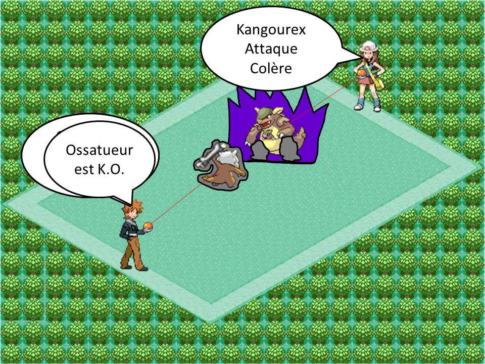 Kangourex Attaque Coup Double Ossatueur Attaque Damoclès Kangourex Attaque Colère Ossatueur Attaque Charge-Os Ossatueur est K.O.