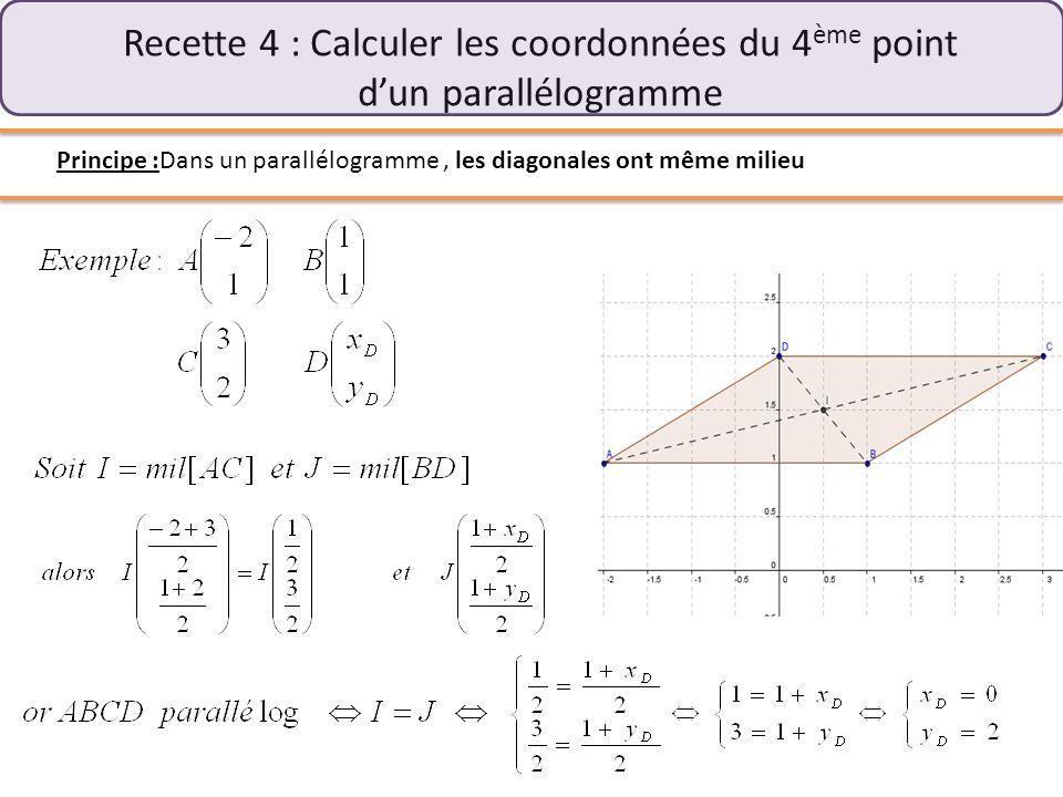 III) Calcul de distances et recettes de cuisine Recette 5 : Calculer la distance AB Principe : On se place dans un repère orthonormé et on utilise Pythagore … encore lui …