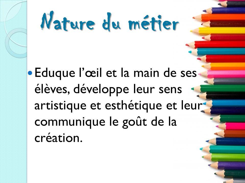 Nature du métier Eduque l'œil et la main de ses élèves, développe leur sens artistique et esthétique et leur communique le goût de la création.