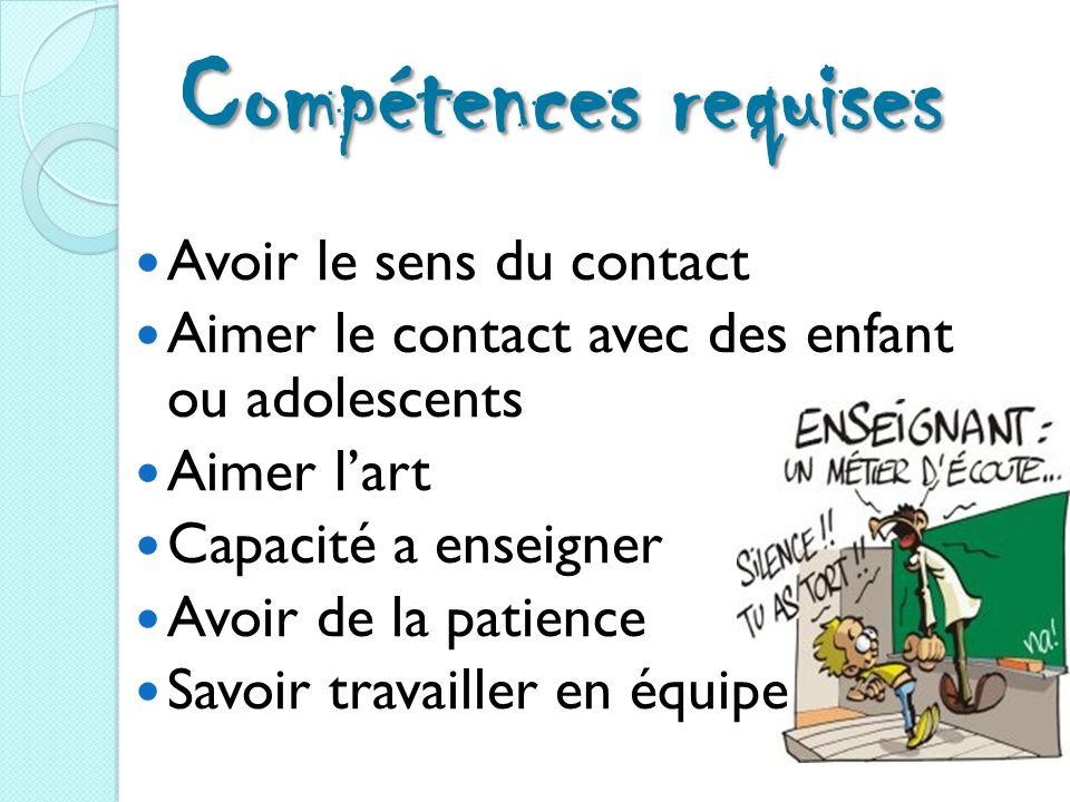 Compétences requises Avoir le sens du contact Aimer le contact avec des enfant ou adolescents Aimer l'art Capacité a enseigner Avoir de la patience Savoir travailler en équipe