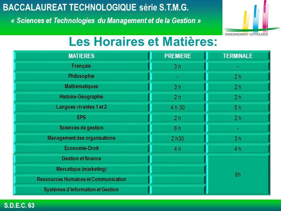 S.D.E.C.63 Les Horaires et Matières: BACCALAUREAT TECHNOLOGIQUE série S.T.M.G.