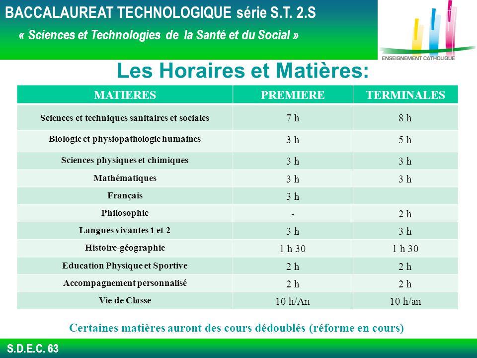 S.D.E.C.63 Les Horaires et Matières: BACCALAUREAT TECHNOLOGIQUE série S.T.