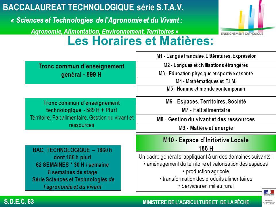 S.D.E.C.63 Les Horaires et Matières: BAC.