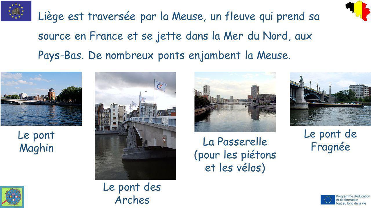 Liège est traversée par la Meuse, un fleuve qui prend sa source en France et se jette dans la Mer du Nord, aux Pays-Bas. De nombreux ponts enjambent l