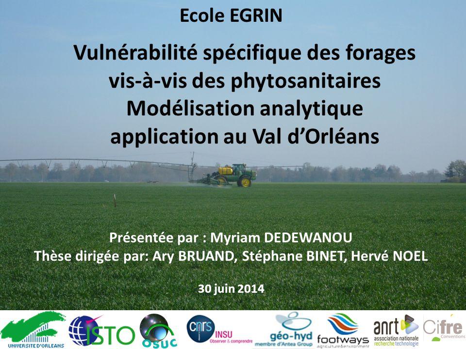 Vulnérabilité spécifique des forages vis-à-vis des phytosanitaires Modélisation analytique application au Val d'Orléans Présentée par : Myriam DEDEWAN