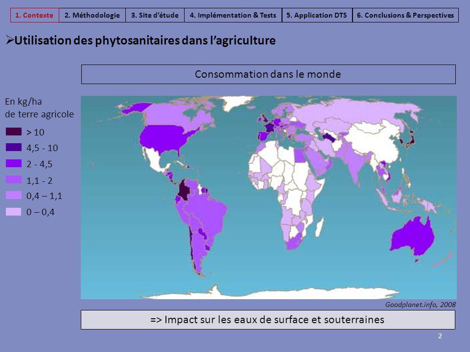 Consommation dans le monde Goodplanet.info, 2008 En kg/ha de terre agricole > 10 4,5 - 10 2 - 4,5 1,1 - 2 0,4 – 1,1 0 – 0,4 2  Utilisation des phytos