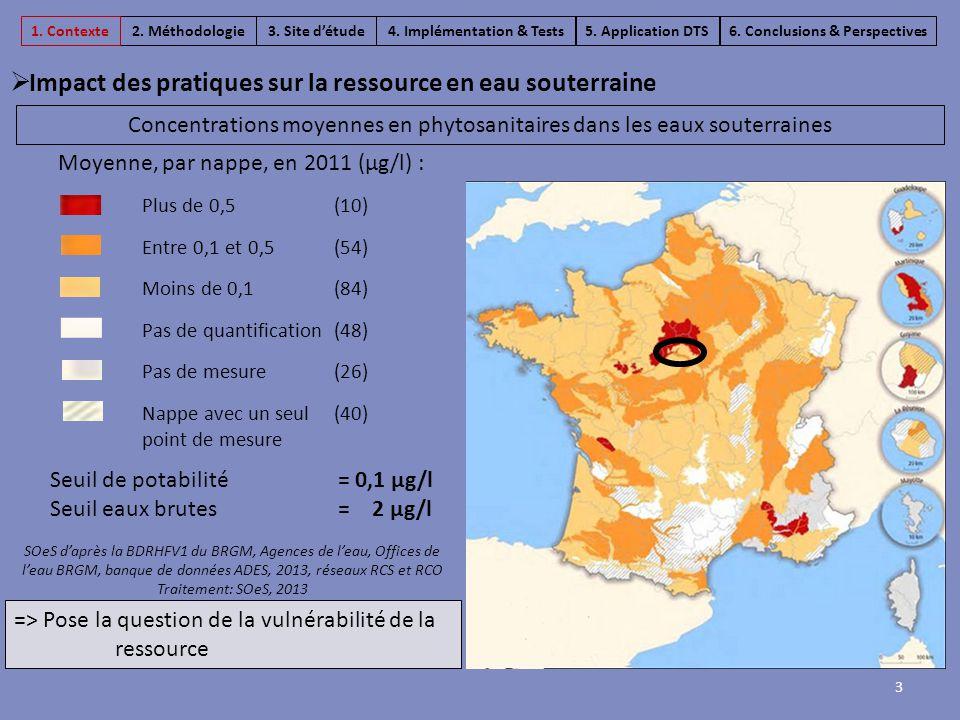 Concentrations moyennes en phytosanitaires dans les eaux souterraines Moyenne, par nappe, en 2011 (µg/l) : SOeS d'après la BDRHFV1 du BRGM, Agences de