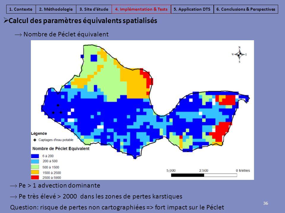  Pe > 1 advection dominante  Pe très élevé > 2000 dans les zones de pertes karstiques Question: risque de pertes non cartographiées => fort impact s