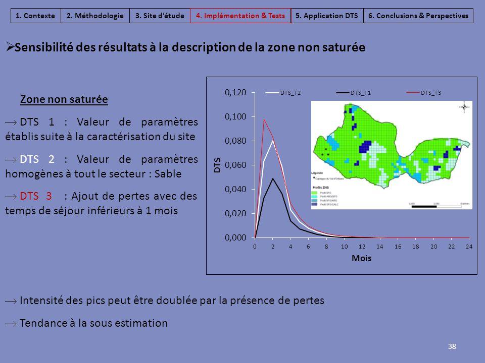  Intensité des pics peut être doublée par la présence de pertes  Tendance à la sous estimation Zone non saturée  DTS 1 : Valeur de paramètres établ