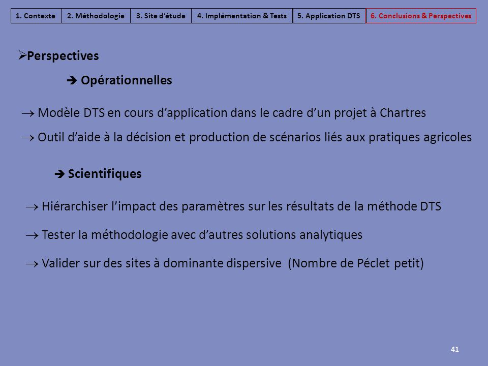 41  Hiérarchiser l'impact des paramètres sur les résultats de la méthode DTS  Tester la méthodologie avec d'autres solutions analytiques  Valider s
