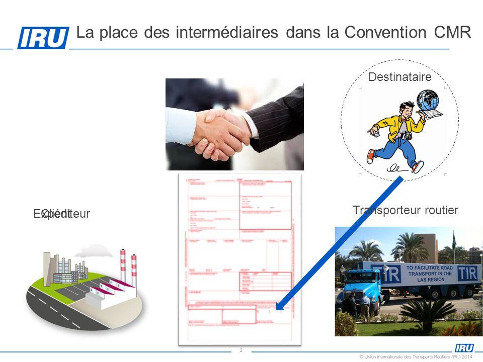 3 La place des intermédiaires dans la Convention CMR Client Transporteur routier Destinataire Expéditeur