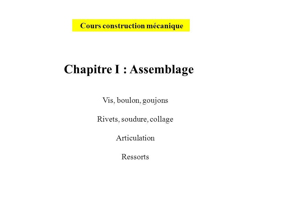 Cours construction mécanique Chapitre I : Assemblage Vis, boulon, goujons Rivets, soudure, collage Articulation Ressorts