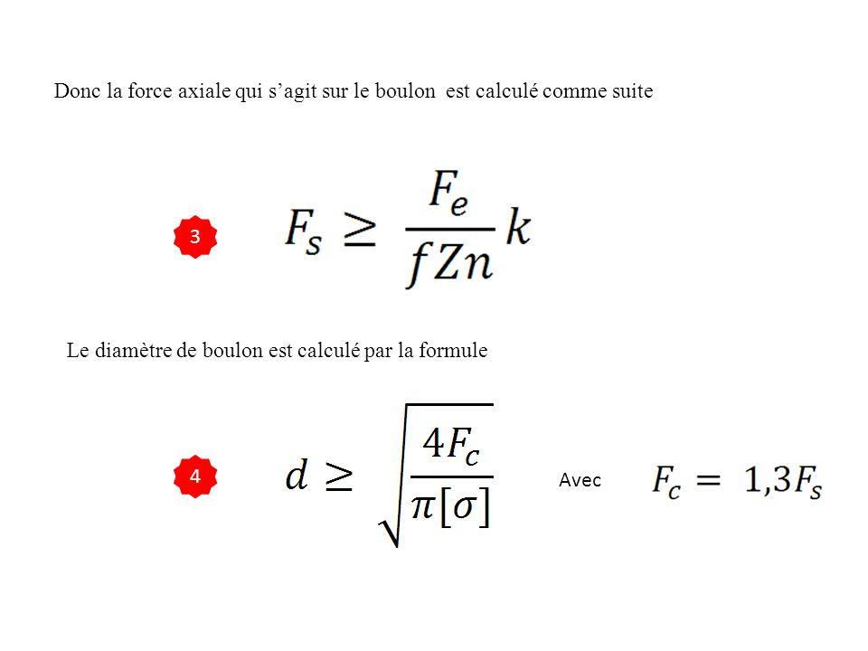 Donc la force axiale qui s'agit sur le boulon est calculé comme suite Le diamètre de boulon est calculé par la formule 3 4 Avec