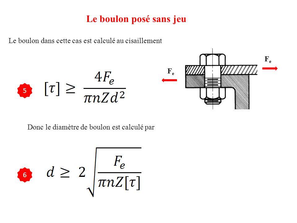 Le boulon posé sans jeu Le boulon dans cette cas est calculé au cisaillement FeFe FeFe 5 Donc le diamètre de boulon est calculé par 6