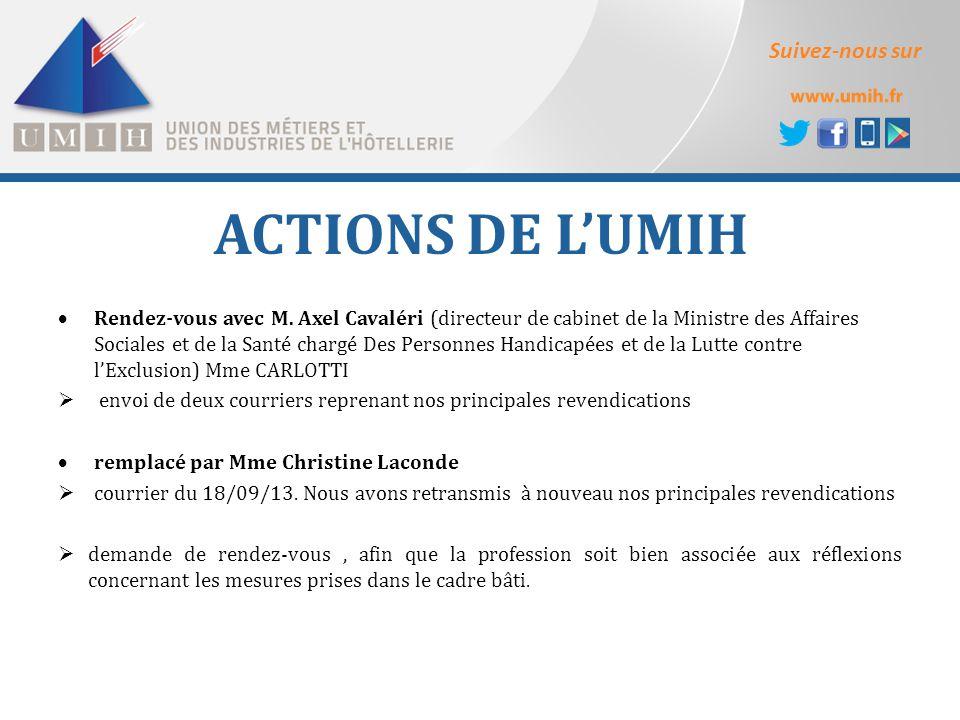 Suivez-nous sur ACTIONS DE L'UMIH  Rendez-vous avec M. Axel Cavaléri (directeur de cabinet de la Ministre des Affaires Sociales et de la Santé chargé