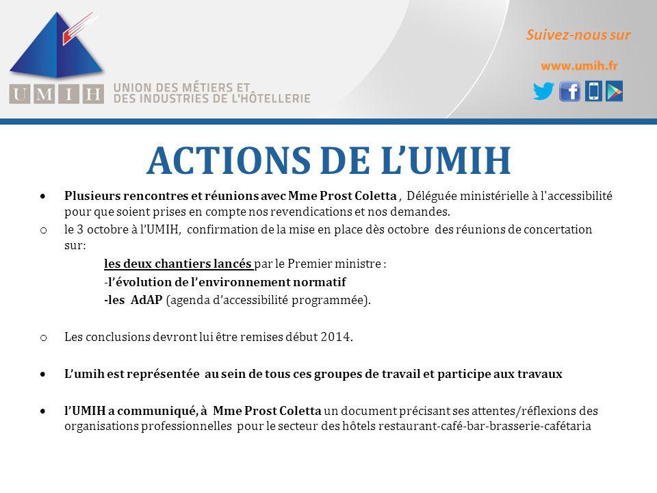 Suivez-nous sur ACTIONS DE L'UMIH  Plusieurs rencontres et réunions avec Mme Prost Coletta, Déléguée ministérielle à l'accessibilité pour que soient