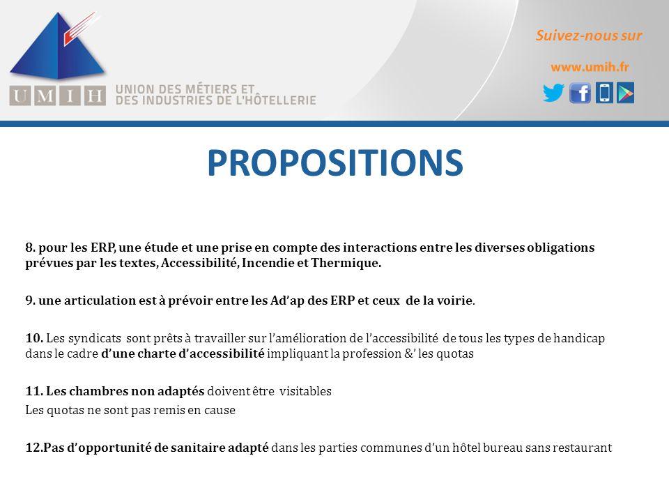 Suivez-nous sur PROPOSITIONS 8. pour les ERP, une étude et une prise en compte des interactions entre les diverses obligations prévues par les textes,