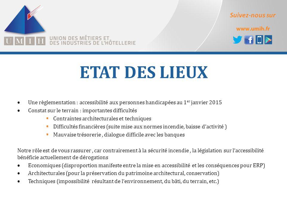 Suivez-nous sur ETAT DES LIEUX  Une règlementation : accessibilité aux personnes handicapées au 1 er janvier 2015  Constat sur le terrain : importan
