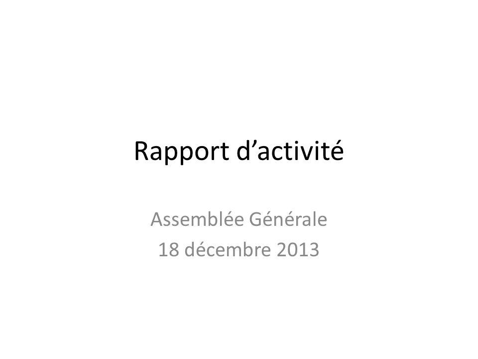 Rapport d'activité Assemblée Générale 18 décembre 2013