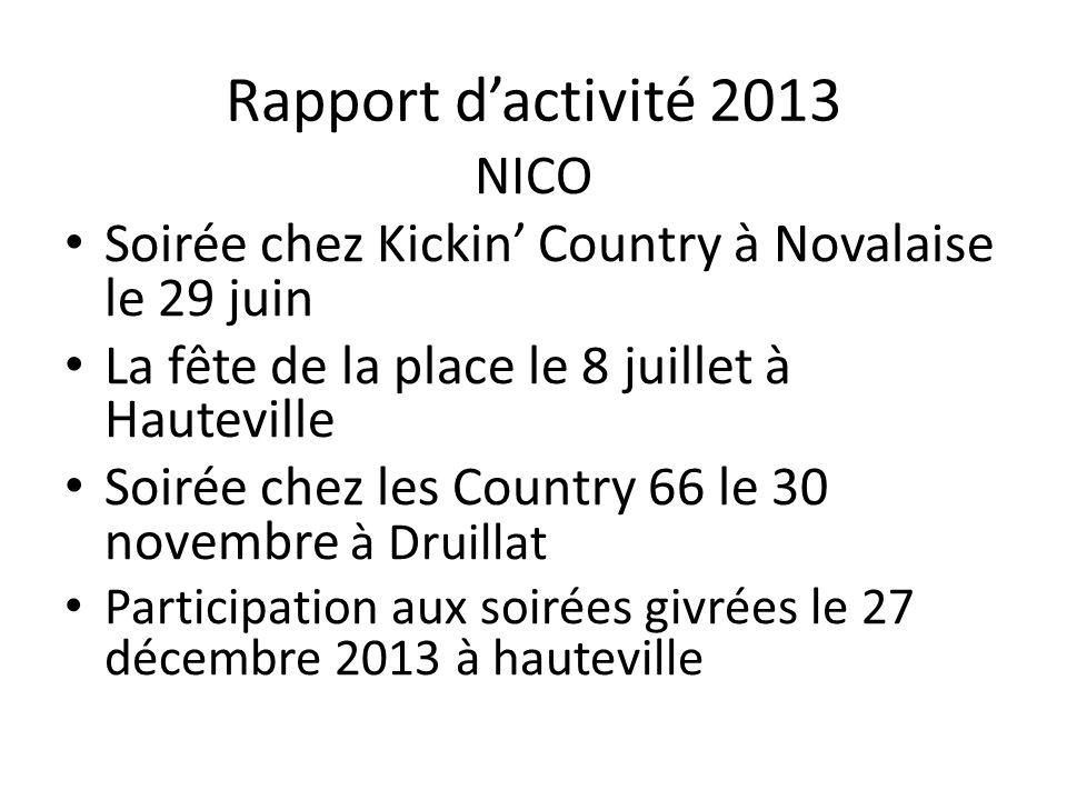 Rapport d'activité 2013 NICO Soirée chez Kickin' Country à Novalaise le 29 juin La fête de la place le 8 juillet à Hauteville Soirée chez les Country 66 le 30 novembre à Druillat Participation aux soirées givrées le 27 décembre 2013 à hauteville