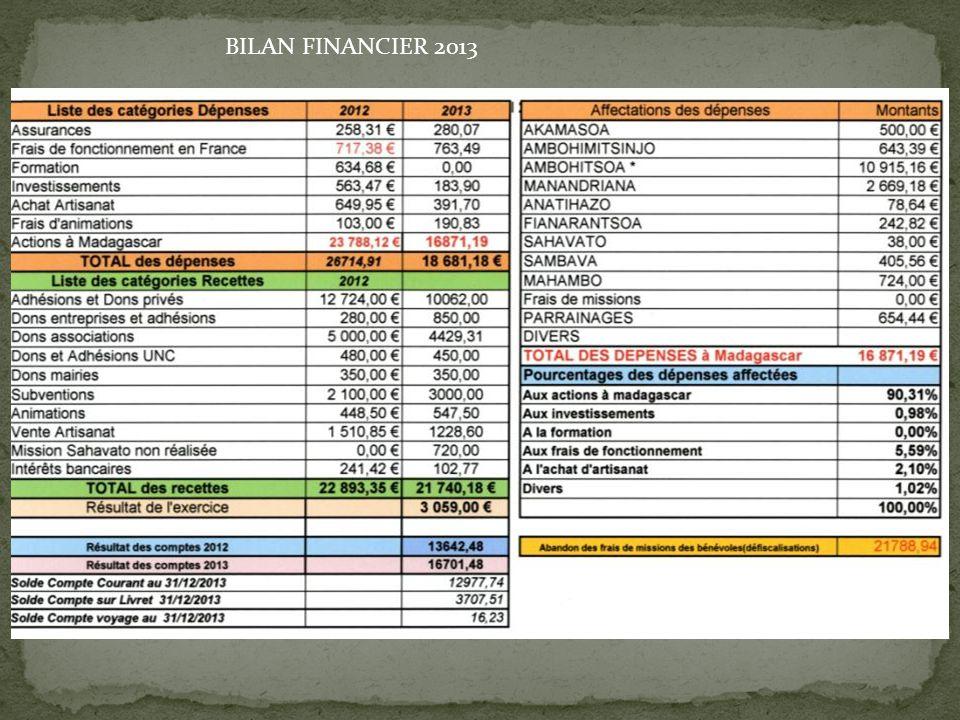 BILAN FINANCIER 2013
