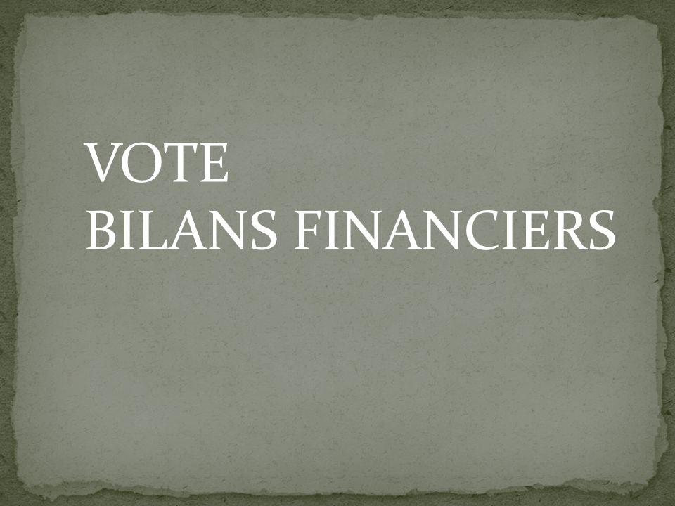 VOTE BILANS FINANCIERS