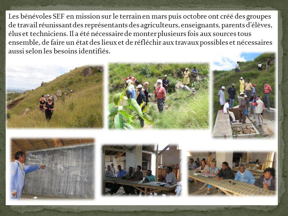 Les bénévoles SEF en mission sur le terrain en mars puis octobre ont créé des groupes de travail réunissant des représentants des agriculteurs, enseig