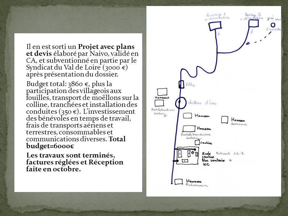 Il en est sorti un Projet avec plans et devis élaboré par Naivo, validé en CA, et subventionné en partie par le Syndicat du Val de Loire (3000 €) aprè