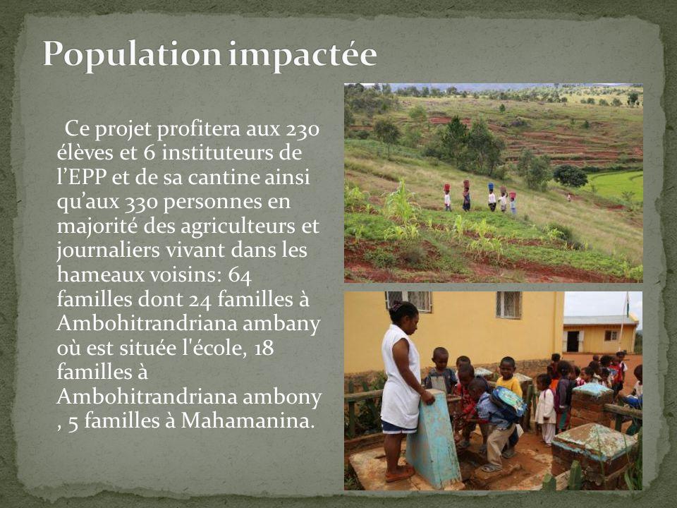 Ce projet profitera aux 230 élèves et 6 instituteurs de l'EPP et de sa cantine ainsi qu'aux 330 personnes en majorité des agriculteurs et journaliers
