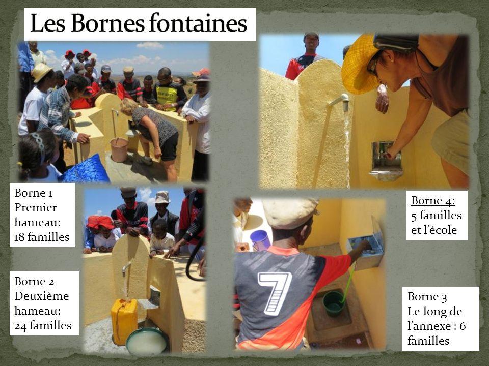 Borne 1 Premier hameau: 18 familles Borne 2 Deuxième hameau: 24 familles Borne 3 Le long de l'annexe : 6 familles Borne 4: 5 familles et l'école
