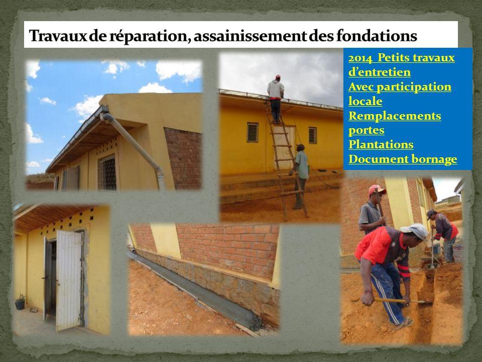 2014 Petits travaux d'entretien Avec participation locale Remplacements portes Plantations Document bornage