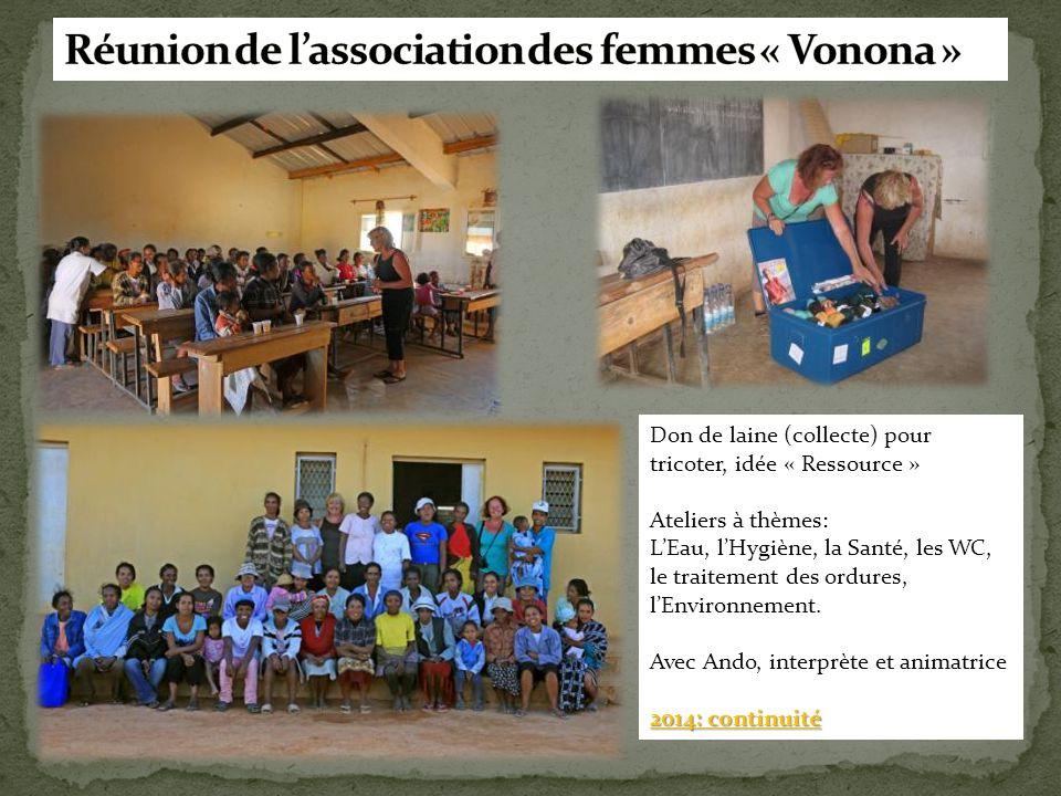 Don de laine (collecte) pour tricoter, idée « Ressource » Ateliers à thèmes: L'Eau, l'Hygiène, la Santé, les WC, le traitement des ordures, l'Environn