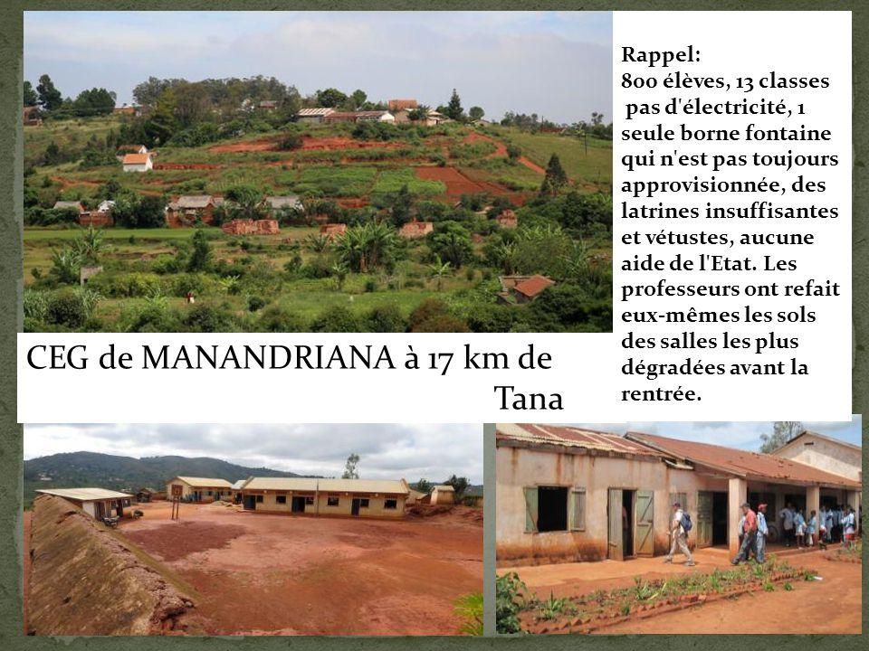 CEG de MANANDRIANA à 17 km de Tana Rappel: 800 élèves, 13 classes pas d'électricité, 1 seule borne fontaine qui n'est pas toujours approvisionnée, des