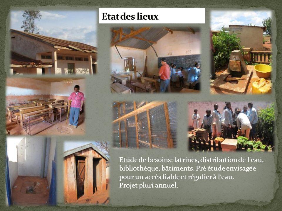 Etude de besoins: latrines, distribution de l'eau, bibliothèque, bâtiments. Pré étude envisagée pour un accès fiable et régulier à l'eau. Projet pluri