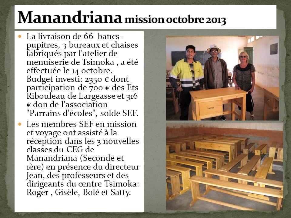 La livraison de 66 bancs- pupitres, 3 bureaux et chaises fabriqués par l'atelier de menuiserie de Tsimoka, a été effectuée le 14 octobre. Budget inves