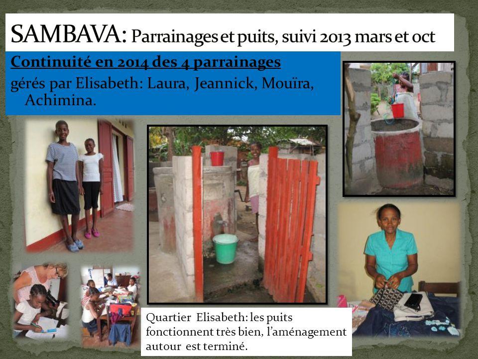 Continuité en 2014 des 4 parrainages gérés par Elisabeth: Laura, Jeannick, Mouïra, Achimina. Quartier Elisabeth: les puits fonctionnent très bien, l'a