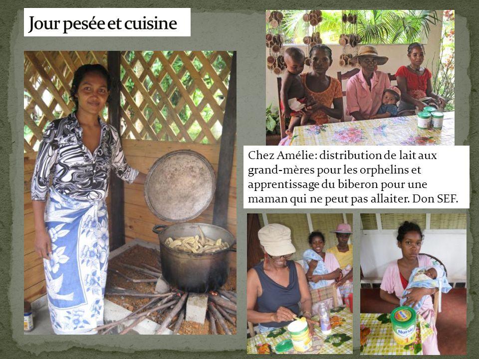 Chez Amélie: distribution de lait aux grand-mères pour les orphelins et apprentissage du biberon pour une maman qui ne peut pas allaiter. Don SEF.