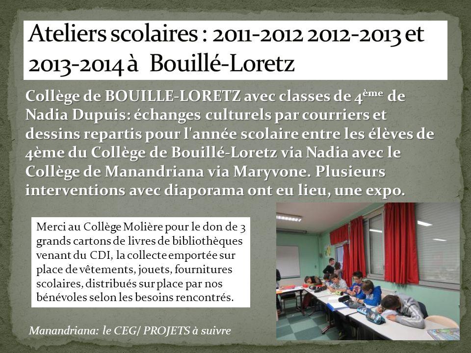 Collège de BOUILLE-LORETZ avec classes de 4 ème de Nadia Dupuis: échanges culturels par courriers et dessins repartis pour l'année scolaire entre les