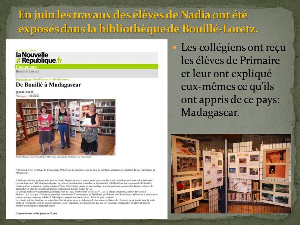 Les collégiens ont reçu les élèves de Primaire et leur ont expliqué eux-mêmes ce qu'ils ont appris de ce pays: Madagascar.