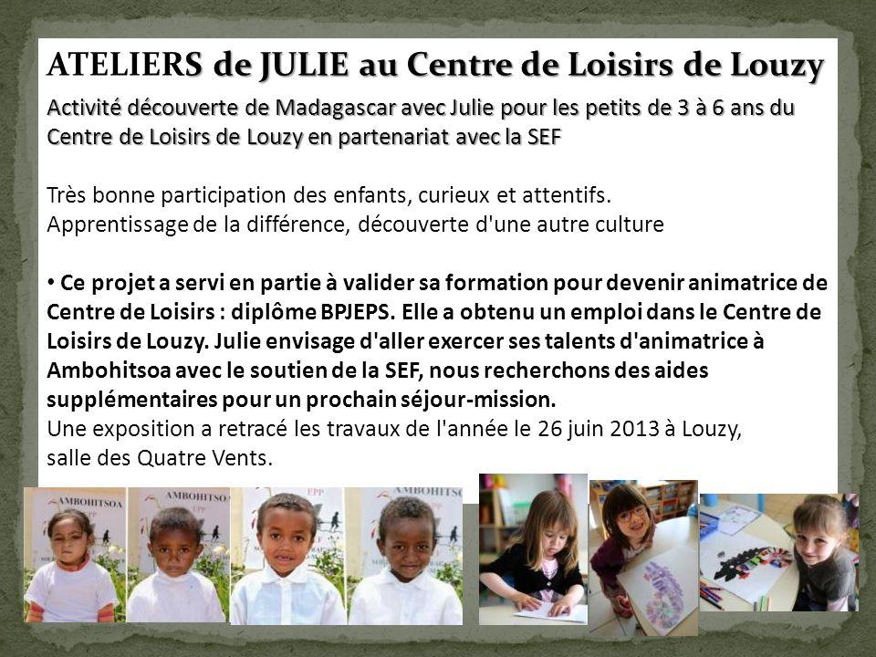 S de JULIE au Centre de Loisirs de Louzy ATELIERS de JULIE au Centre de Loisirs de Louzy Activité découverte de Madagascar avec Julie pour les petits