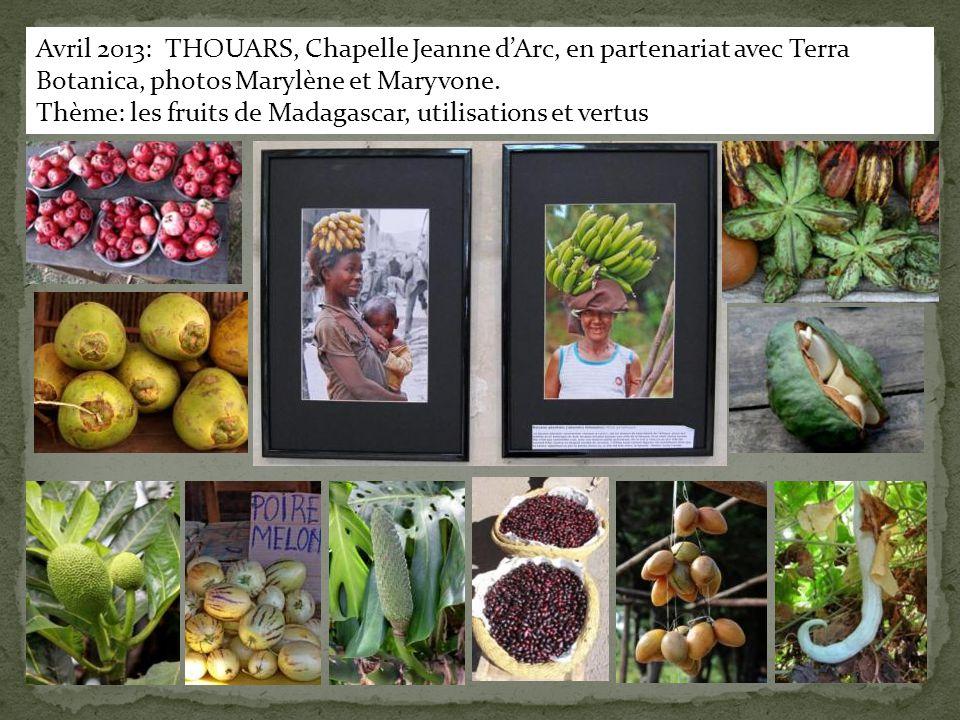 Avril 2013: THOUARS, Chapelle Jeanne d'Arc, en partenariat avec Terra Botanica, photos Marylène et Maryvone. Thème: les fruits de Madagascar, utilisat