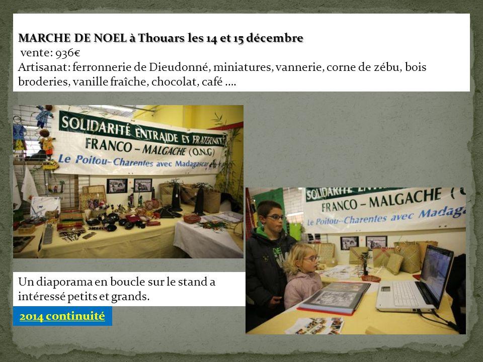 MARCHE DE NOEL à Thouars les 14 et 15 décembre vente: 936€ Artisanat: ferronnerie de Dieudonné, miniatures, vannerie, corne de zébu, bois broderies, v