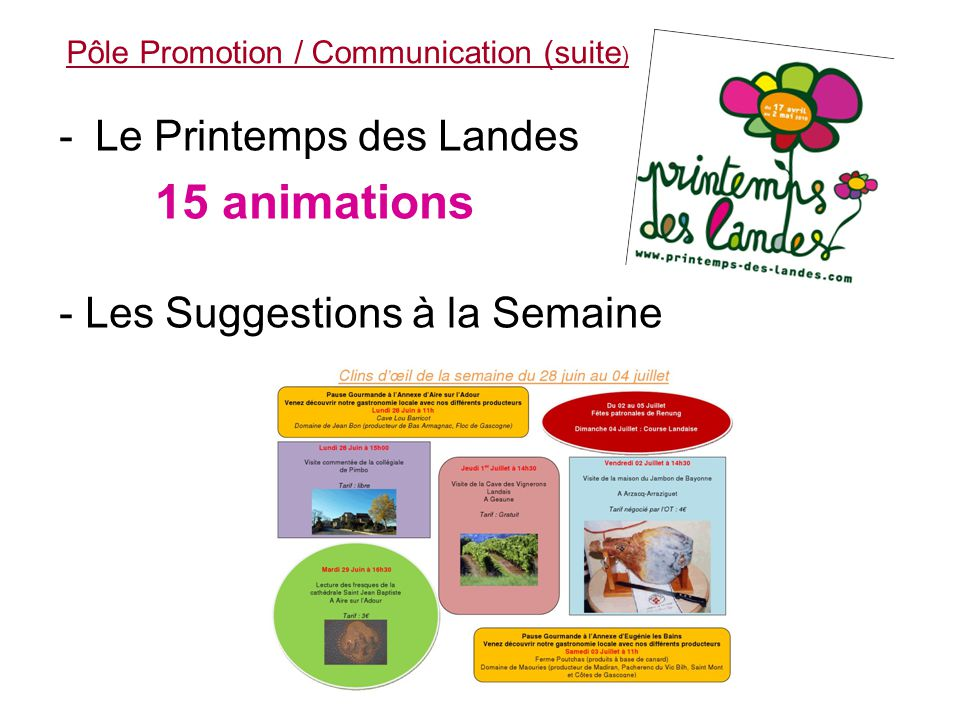 Le Pôle Promotion / Communication En direction du grand public: - Guide Pratique du Curiste -Participation financière au Salon des Thermalies - Présence sur le Salon du Tourisme de Toulouse, organisation d'un jeux concours