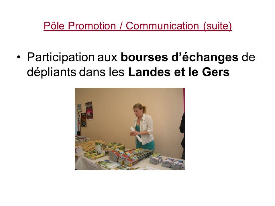 Pôle Promotion / Communication (suite) En direction des réseaux commerciaux : -Création de programmes à la journée -Mailings autocaristes, CE, associations