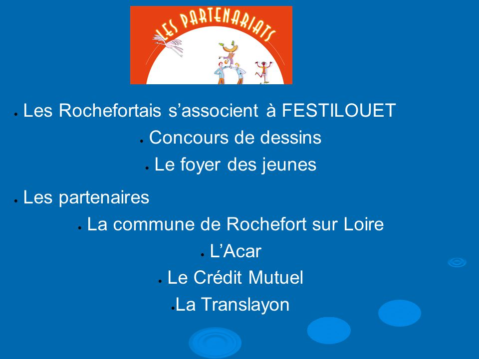  Les Rochefortais s'associent à FESTILOUET  Concours de dessins  Le foyer des jeunes  Les partenaires  La commune de Rochefort sur Loire  L'Acar