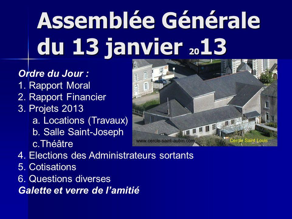Assemblée Générale du 13 janvier 20 13 Ordre du Jour : 1.
