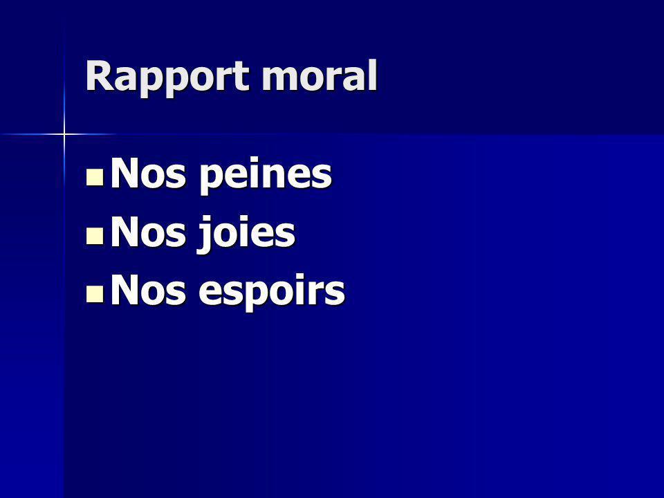 Rapport moral Nos peines Nos peines Nos joies Nos joies Nos espoirs Nos espoirs